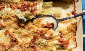 Creamy crumble: baked celery, bacon and parmesan.