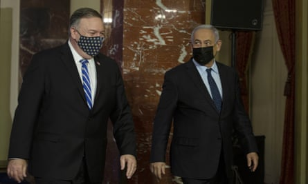 Mike Pompeo (left) and Benjamin Netanyahu after a joint press conference in Jerusalem on Thursday.