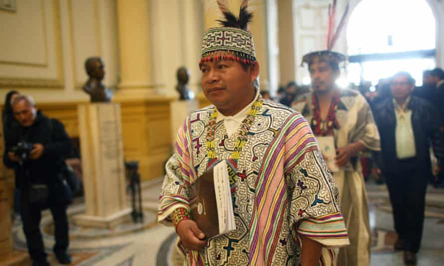 Lizardo Cauper Pezo of the Ucayali regional organisation arrives at the Congress facilities in Lima