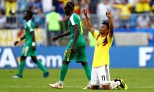 Juan Cuadrado of Colombia celebrates