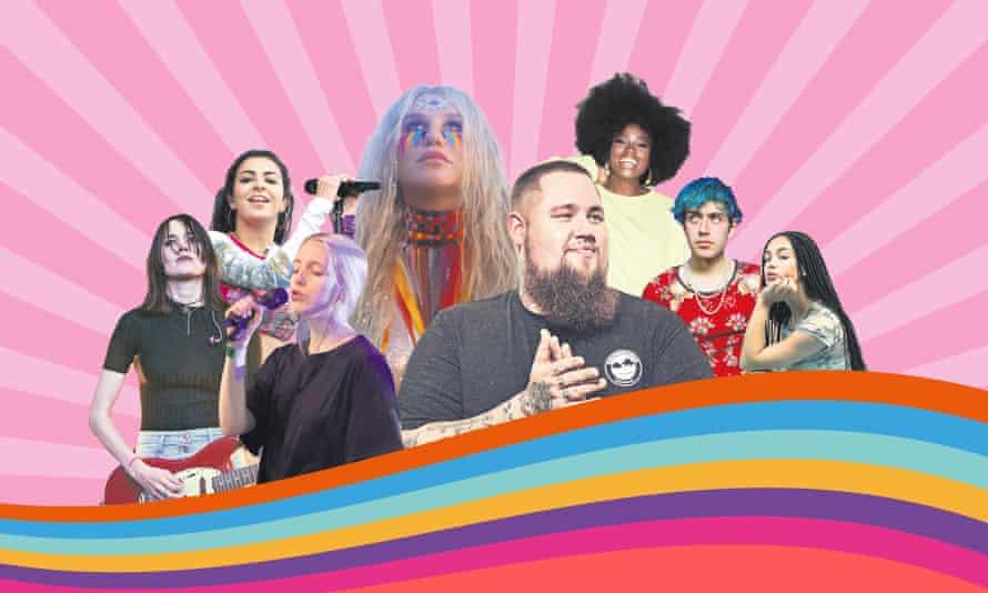 Our playlisters, left to right: Theresa Wayman of Warpaint, Charli XCX, Stevie Parker, Kesha, Rag'n'Bone Man, Clara Amfo, Ezra Furman and Jorja Smith