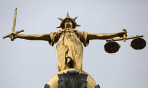 A statue of Lady Justice at the Old Bailey in London.