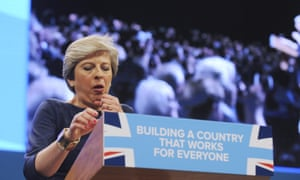 Prime minister Theresa May gives her keynote speech at the Conservative Party conference in Manchester