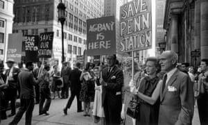 Jane Jacobs, third from right, with architect Philip Johnson, protests against the demolition of Penn Station in New York, 1963.