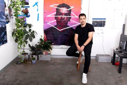 Australian artist Abdul Abdullah in the studio in 2019