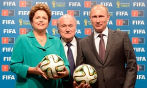 Vladimir Putin, pictured with Sepp Blatter and Brazil's then president Dilma Rousseff, held meetings with six men who voted in the World Cup bidding process but Russia's bid emerges from Michael garcia's report untouched.