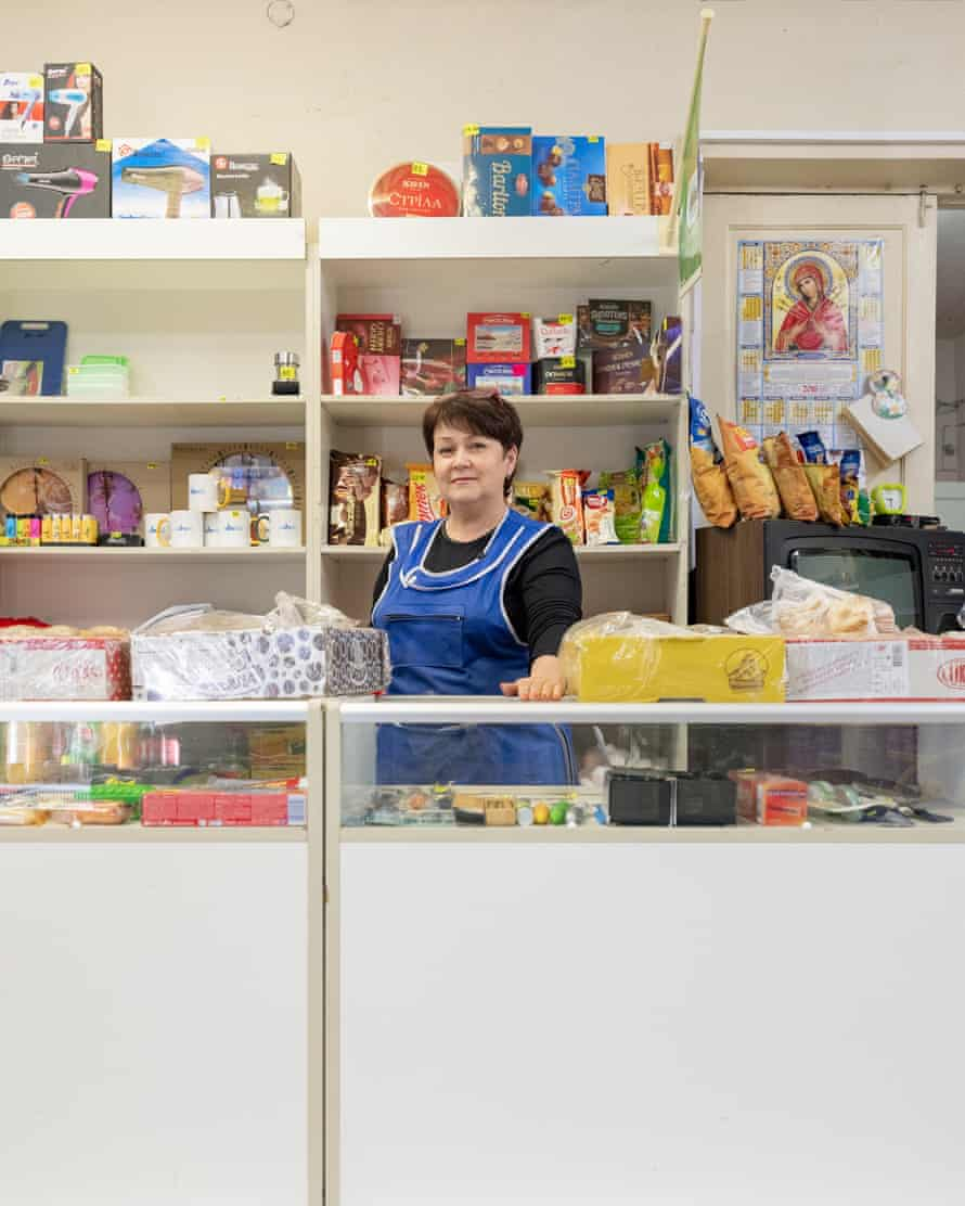 A shopkeeper in Chernobyl town, where 1,500 people still work servicing the power plant.