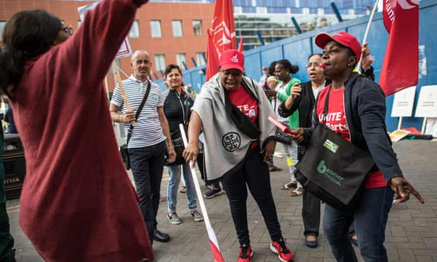 Domestic staff outside Royal London hospital during a 48-hour strike