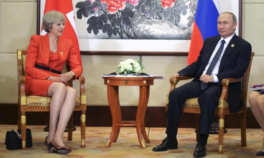 Theresa May with Vladimir Putin in Hangzhou, China, 2016