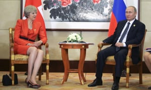 Theresa May with Vladimir Putin in 2016. A strong response will be expected from the prime minister if Russia fails to prove its innocence.