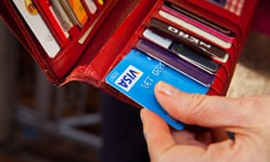 Bank cards in a purse