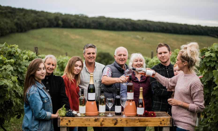 Group effort … the Wilson family who run Little Wold Vineyard near South Cave. Yorkshire, UK
