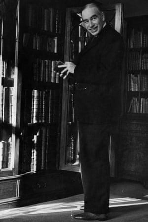 John Maynard Keynes in his library