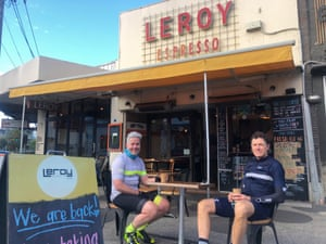 Martin Wells and Craig Murphy outside the Leroy Espresso in Melbourne.