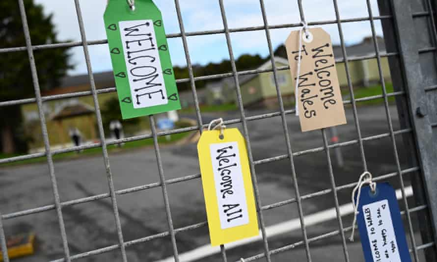 Goodwill messages at a refugee camp in Wales