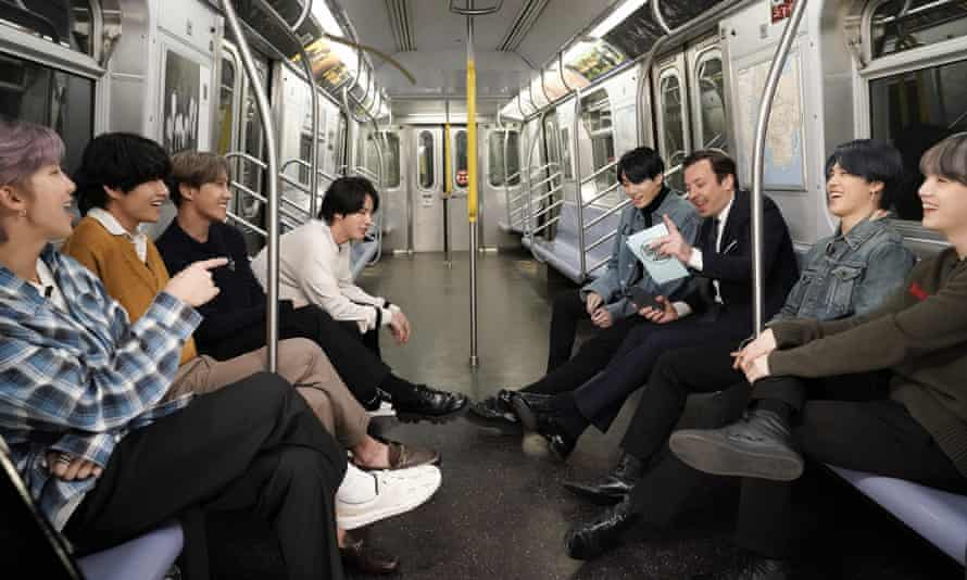 Western view … Jimmy Fallon interviews BTS on New York's subway for The Tonight Show last February.