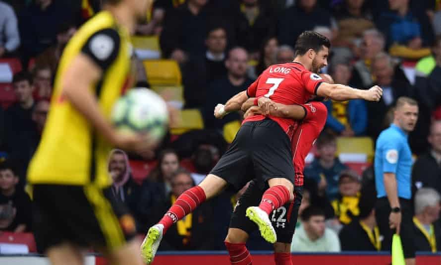 Shane Long celebrates scoring the fastest ever Premier League goal.