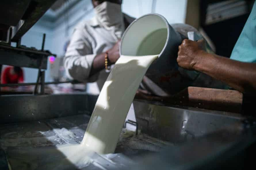 Milk from various collection centres in processed at night, at the 5,000-litre Creamline Dairy in Killari Gaon village in Latur.