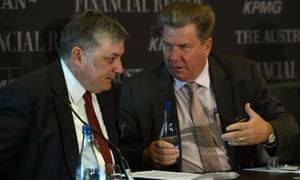 Editor-in-Chief of The Australian Financial Review Michael Stutchbury speaks with Editor-in-Chief of The Australian, Chris Mitchell at the National Reform Summit business forum hosted by The Australian and The Financial Review newspapers, in Sydney, 26 August 2015.