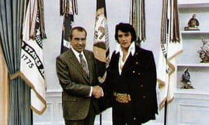 Richard Nixon meets with Elvis Presley at the White House in 1970