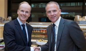 Booker chief executive Charles Wilson and Tesco chief executive Dave Lewis after the announcement of the £3.7bn takeover.