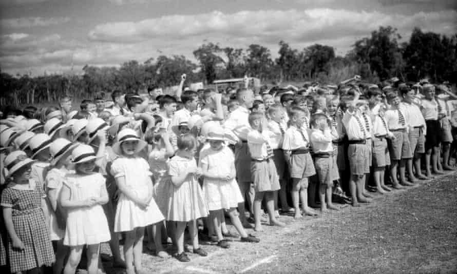 Children from the Fairbridge Farm school at Pinjarra, Western Australia, listening to a speech by the Duke of Gloucester in 1934