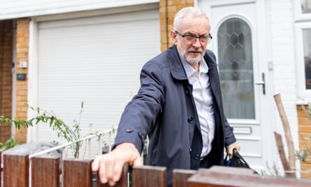 Jeremy Corbyn leaving his home in north London.