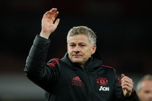 Ole Gunnar Solskjaer celebrates at then end of the match.