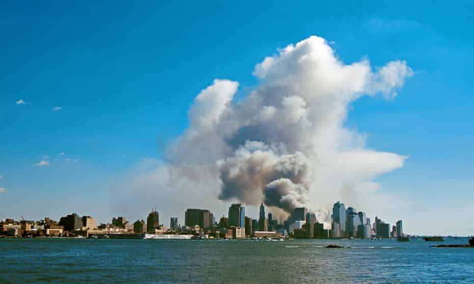 The September 11 attack on the Twin Towers of the World Trade Center, New York.