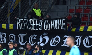 A banner at a match between Bayer Leverkusen and Bate Borisov in the Champions League.
