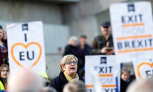 Scottish National party MP Joanna Cherry speaks to an anti-Brexit rally in Edinburgh.