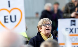 Joanna Cherry speaking at a rally demanding a second referendum on Brexit.
