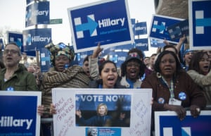 Supporters cheer for Clinton at the Brooklyn Navy Yard