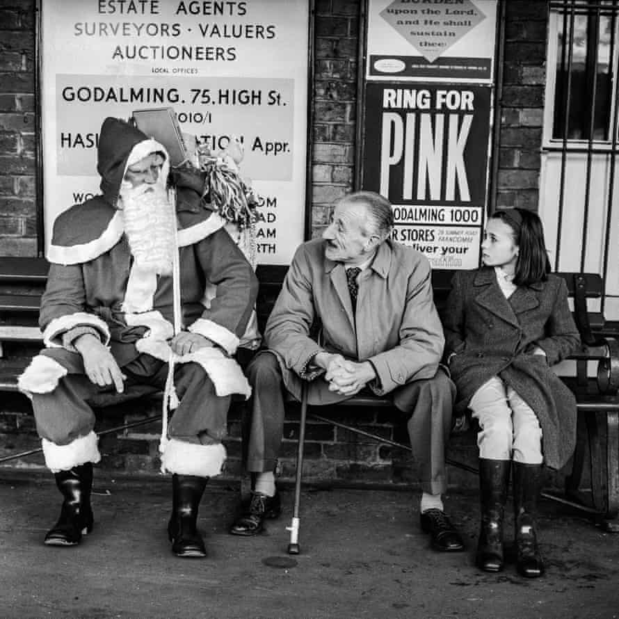 British Railways (Father Christmas), 1 December 1962. Santa at Witley Station, near Godalming, Surey. GNM Archive ref: JHB/1/3/20 Variant published on page 1 of the Observer on 2 December 1962.