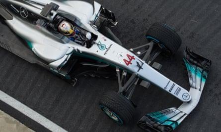 Lewis Hamilton in his 2017 Mercedes
