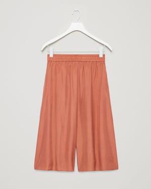Long silk shorts in terracotta