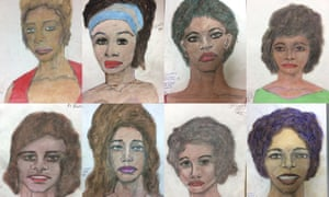 A detail of sketches provided by the FBI shows drawings made by admitted serial killer Samuel Little, based on his memories of some of his victims.