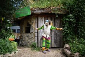 Mike Feingold poses for a photograph outside the £300 eco-friendly Roundhouse in the Permaculture area on day five of Glastonbury Festival at Worthy Farm, Pilton on June 30, 2019 in Glastonbury, England. Glastonbury is the largest greenfield festival in the world, and is attended by around 175,000 people.