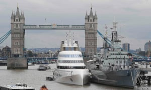 The superyacht A moored beside HMS Belfast in London late last year..