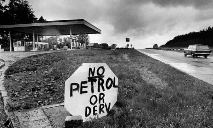 A petrol garage on the A74 near Crawfordjohn in Lanarkshire, Scotland, runs out of petrol during the 1970s oil price shock