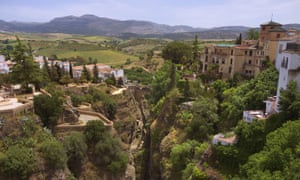 Countryside view from the bridge, Puente Nuevo, in Ronda, Spain.