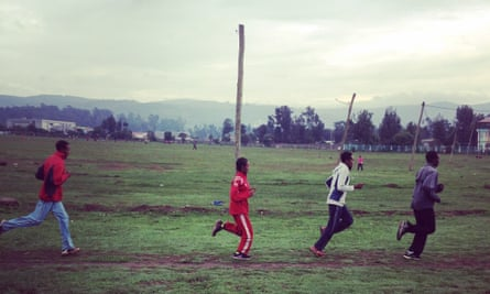 Who needs spikes anyway? Runners at Jan Meda racecourse in Addis Ababa.