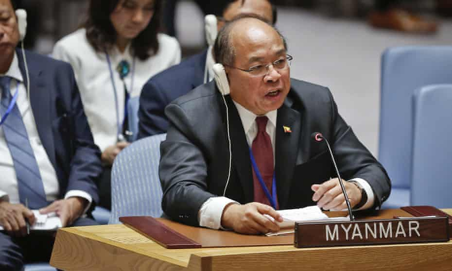 Myanmar security adviser U Thaung Tun addresses the UN security council.