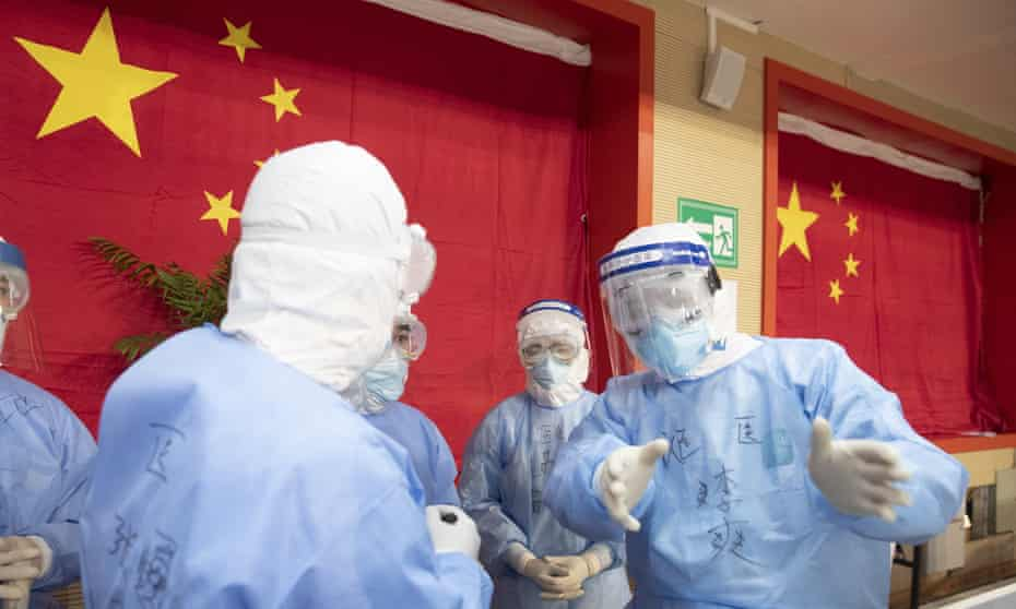 Medical staff are seen in a makeshift hospital in Wuhan.