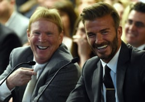 Oakland Raiders owner Mark Davis and former soccer player David Beckham attend a southern Nevada tourism infrastructure committee meeting in Las Vegas.