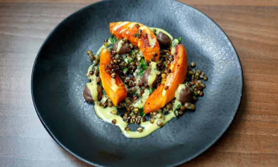 Crisp lentils make it sing: onion squash with puy lentils.