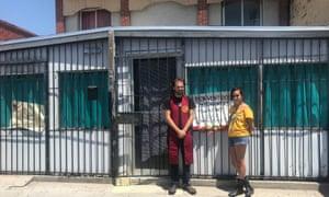 Zeb Green and Ana Tiffany Deveze in front of Casa Carmelita.