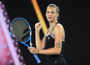 Karolina Pliskova celebrates winning.