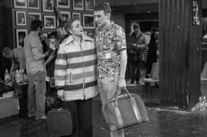 Punters with their holdalls.