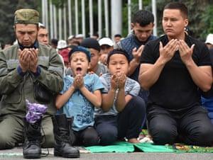 A prayer ceremony in Bishkek, Kyrgyzstan